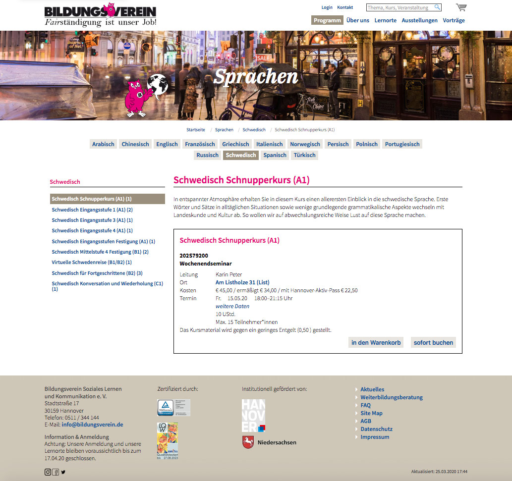 Bildungsverein Hannover Sprachen