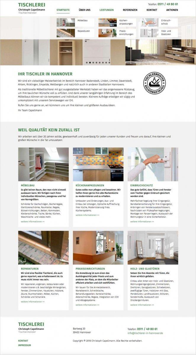 Website Tischlerei Capellmann homepage
