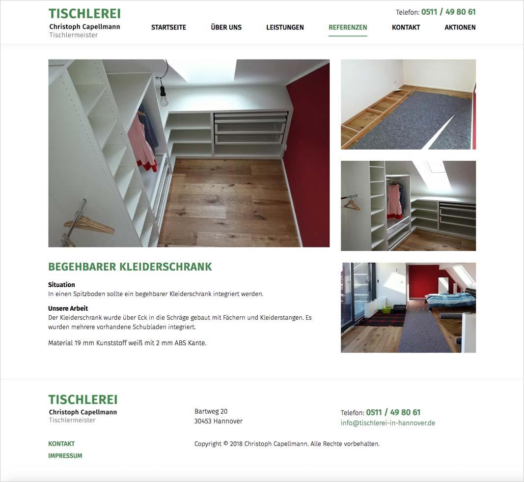 Website Tischlerei Capellmann Referenz