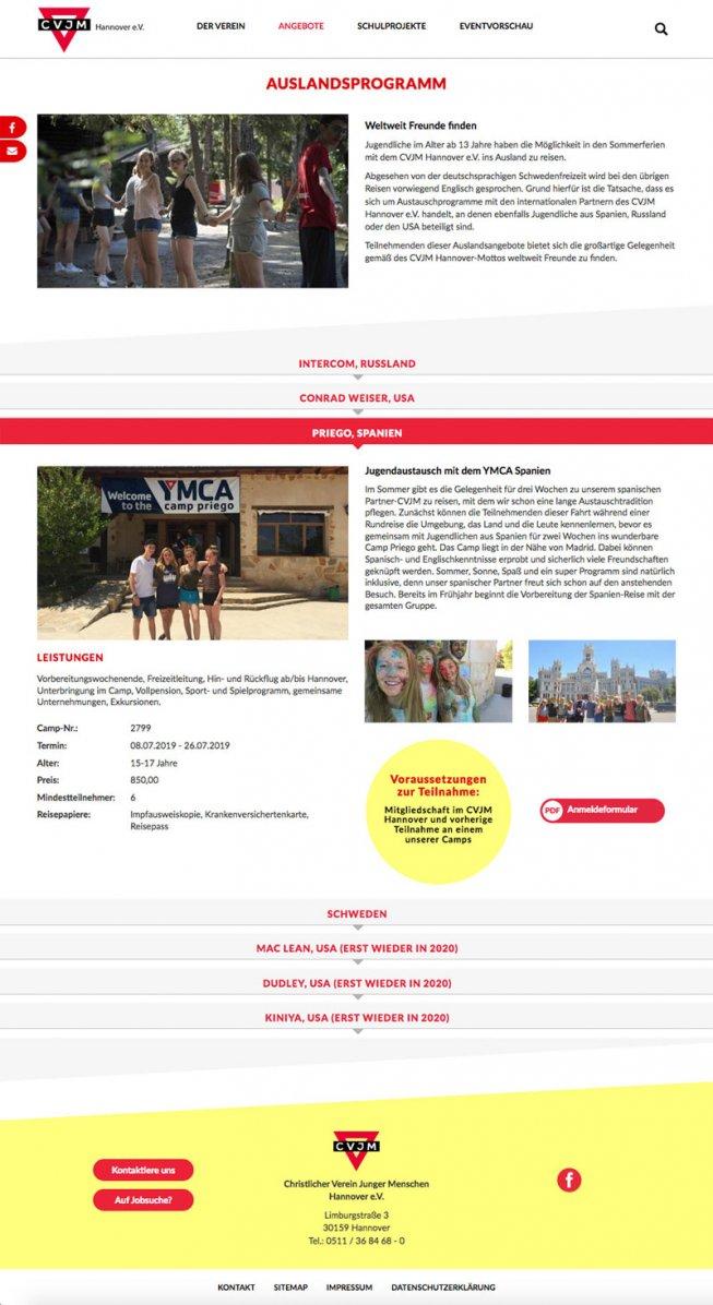 Website CVJM Hannover Camps