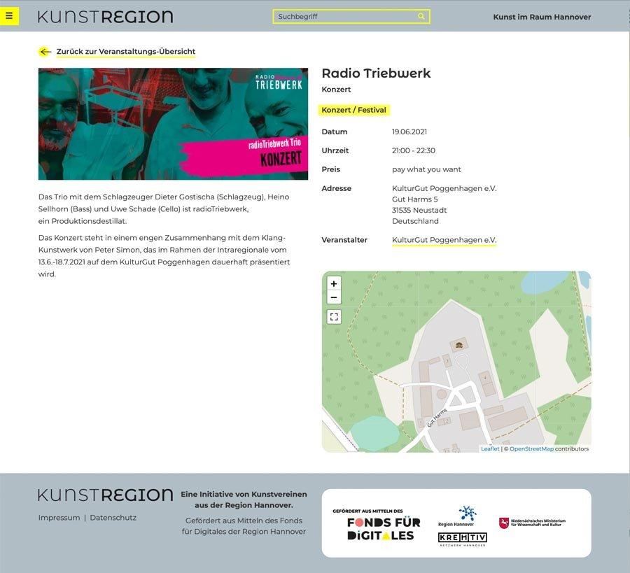 Kunstregion, einzelne Veranstaltung