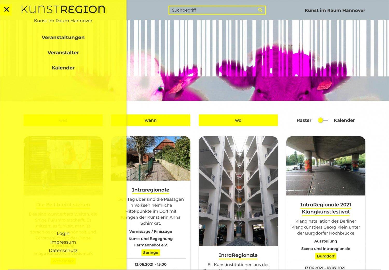 Kunstregion, Startseite mit geöffnetem Menü