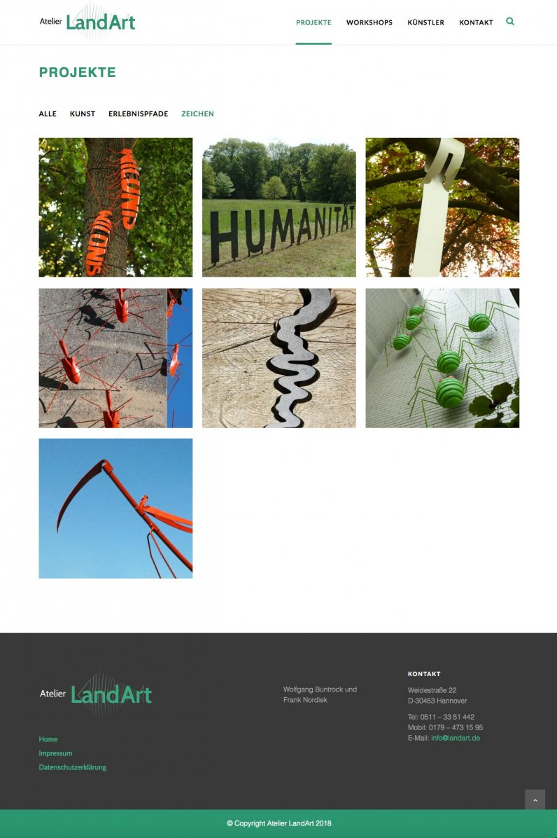 Website Atelier LandArt Projekte