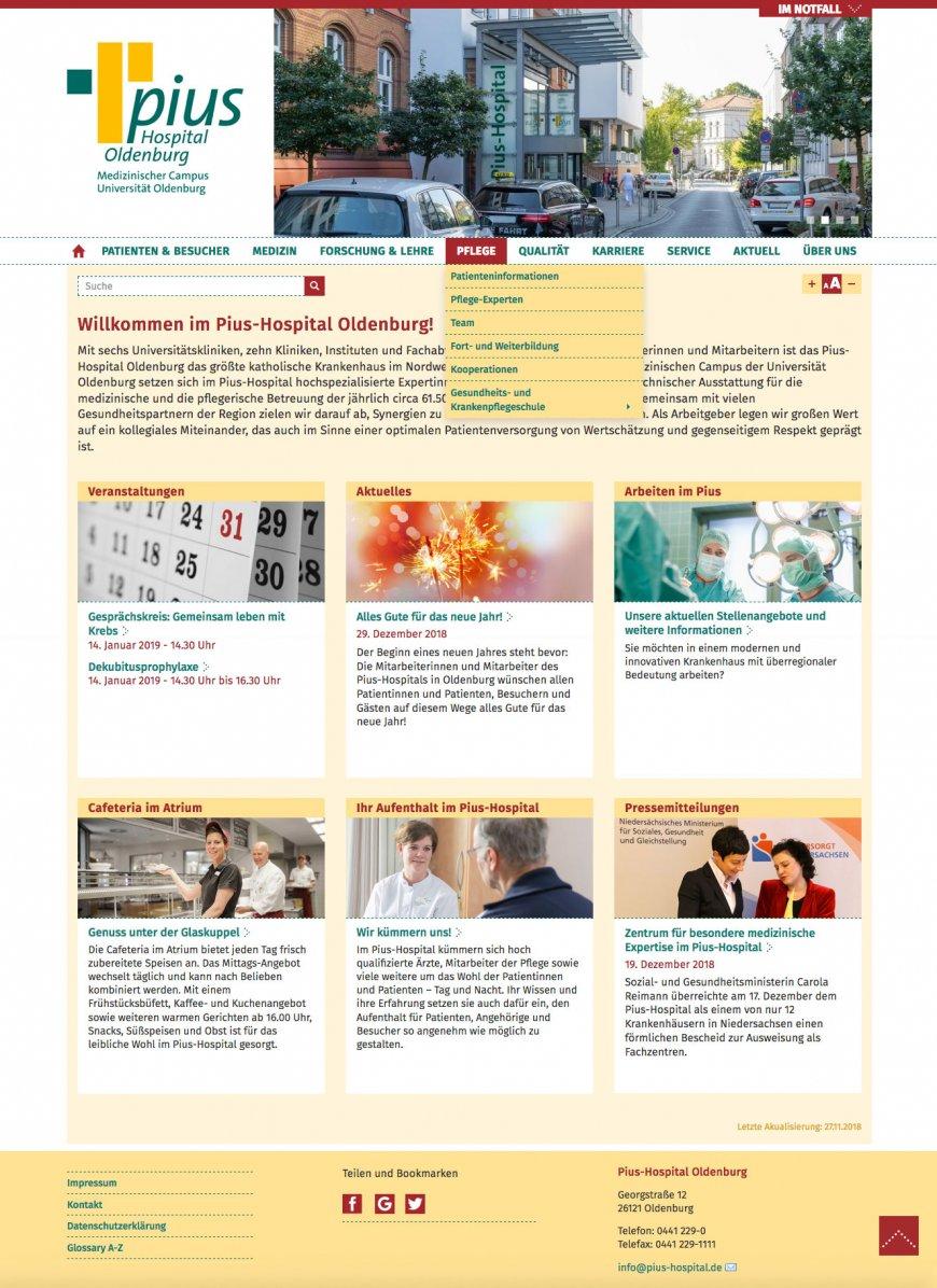 Website Pius-Hospital Homepage