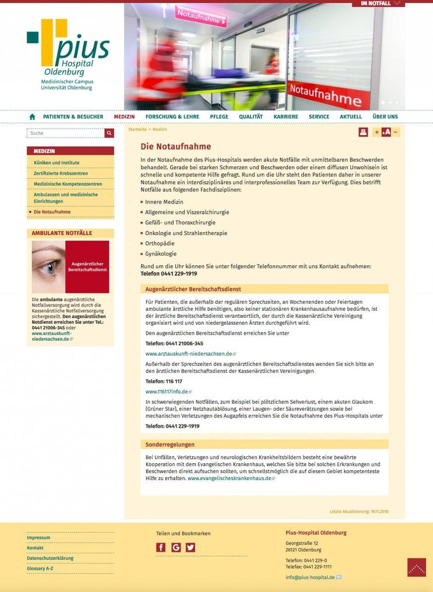 Website Pius-Hospital Notfallambulanz
