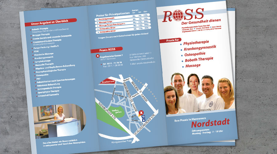 Physiotherapeutische Praxis Ross, Flyer