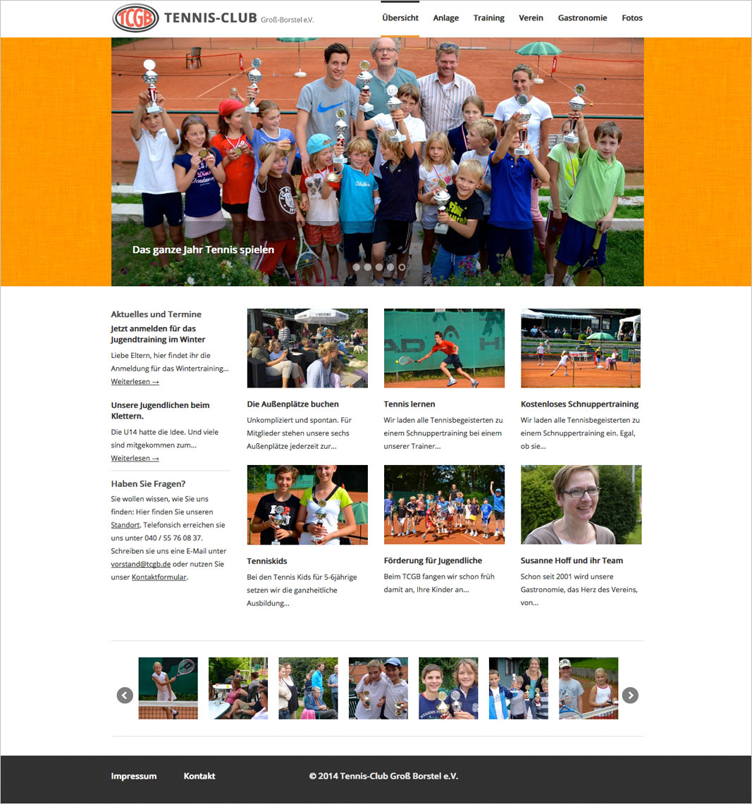 Website Tennisclub Homepage