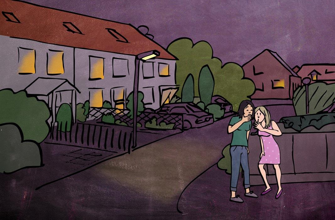 Illustration sexuelle Gewalt Violetta Hannover tuscheln